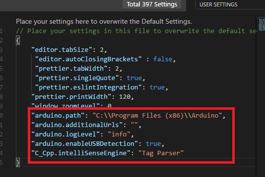 VsCode settings for Arduino
