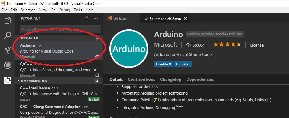 Arduino Visual Studio Code eklentisi