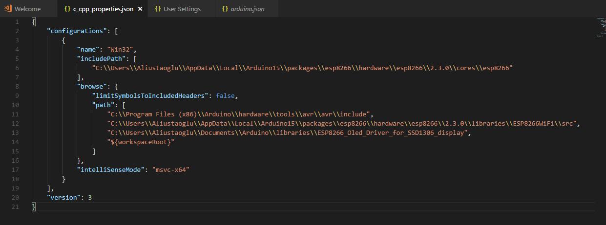 C C++ settings