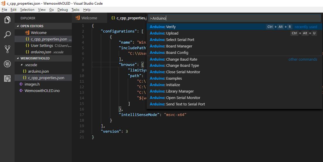 Enabling Arduino Intellisense with Visual Studio Code
